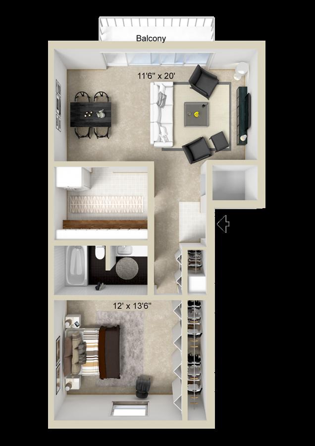 1 Bedroom Apartment at Briarlane Apartments
