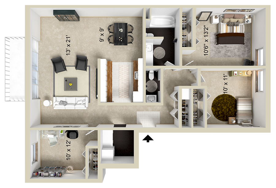 A 3 bedroom unit with 3 Bedrooms and 1.5 Bathrooms with area of 1157 sq. ft